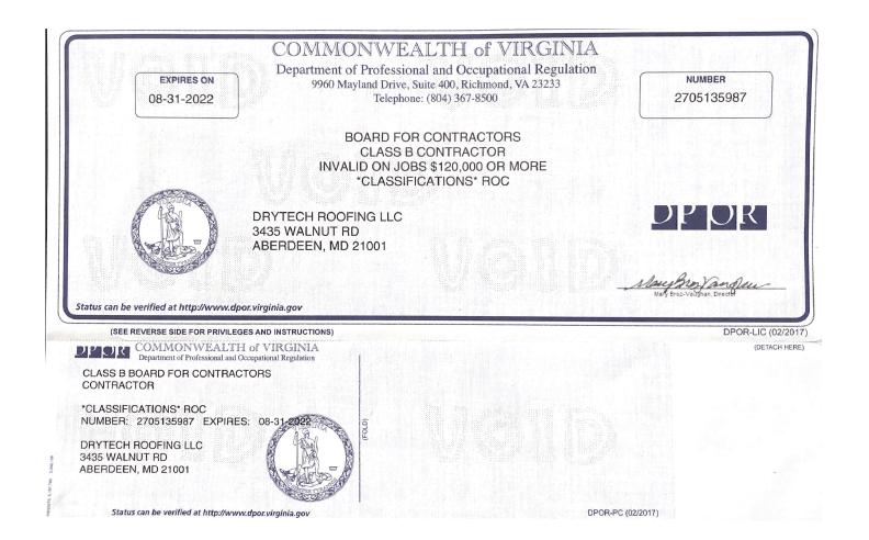 DryTech License, Virginia